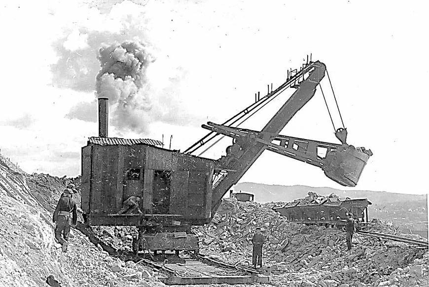 Dampfbagger am Hörselberg, ähnliche kamen auch bei Mühlberg zum Einsatz